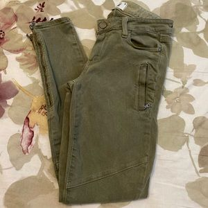 Paige Fatigue Green Ankle Zip Moto Jean